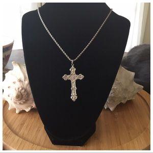 "Vintage Sterling Silver 2"" Cross Necklace 24"""
